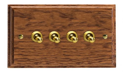 Varilight XKT9MO Kilnwood Medium Oak 4 Gang 10A 1 or 2 Way Toggle Light Switch